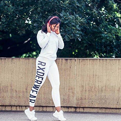 Koly Gilet di allenamento di moda femminile Fitness Ginnastica sportiva in esecuzione pantaloni atletici di yoga White