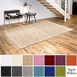 Shaggy-Teppich | Flauschige Hochflor Teppiche fürs Wohnzimmer, Esszimmer, Schlafzimmer oder Kinderzimmer | einfarbig, schadstoffgeprüft, allergikergeeignet (Beige, 40 x 60 cm)