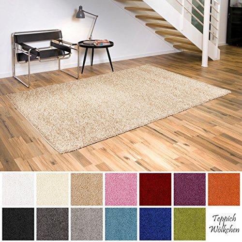 Shaggy-Teppich | Flauschige Hochflor Teppiche für Wohnzimmer Küche Flur Schlafzimmer oder Kinderzimmer | Einfarbig, schadstoffgeprüft, allergikergeeignet (Beige, 60 x 90 cm)