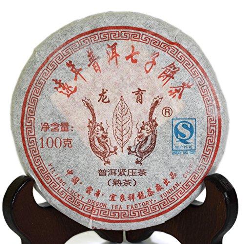 100g (3.5 Oz) 2008 Year Yunnan Aged Lucky Dragon puer pu'er Puerh Tea Ripe Small Cake