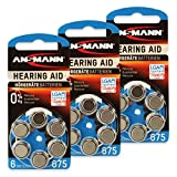18 ANSMANN Hörgerätebatterien / 3x6er Packung Zink...