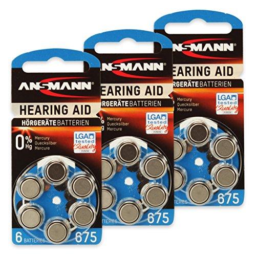 18 ANSMANN Hörgerätebatterien 675 Zink Luft 1,4V PR44 AZA675 blau 5013253 Hörgeräte Knopfzelle Batterie - besonders lange Laufzeit - 675 Hörgeräte Batterien