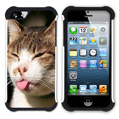 Graphic4You Baby Cats Love Tier Design Hart + Weiche Kratzfeste Hülle Case Schale Tasche Schutzhülle für Apple iPhone SE / 5 / 5S Design #4