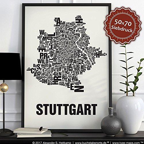 Stuttgart Buchstabenort Schwarz auf Naturweiß