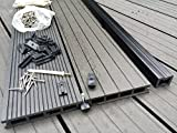 Gartendielen, Holz/ Kunststoff, für eine Fäche von 10m², inklusive Trägerteilen und Kunststoffverschraubung, 300x 15 x 2,5cm (L x B x D), Dunkelgrau