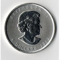 KANADA / CANADA 1 Unze Silbermünze 5 $ KANADISCHE SILBERDOLLAR Meaple Leaf 2012 - 999er Feinsilber Silber
