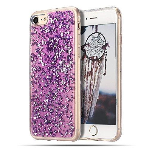 Cover iPhone 8, Custodia iPhone 7, CaseLover Custodia per iPhone 8 / 7 Morbido TPU Silicone Trasparente Bling Bling Glitter Protettiva Case Ultra Sottile Flessibile Lusso Cristallo Scintilla Scintilli Viola