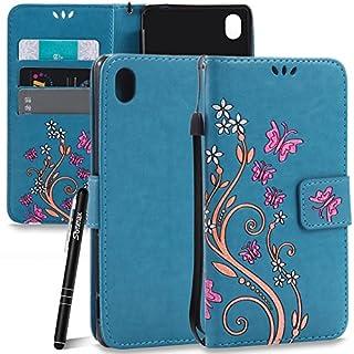 Slynmax Schmetterling Lederhülle Schutzhülle für Sony Xperia M4 Aqua (5 Zoll) Hülle Blau Wallet Flip Case Handytasche Tasche Klapphülle Brieftasche Karten Slot Ständer Magnetverschluss Handyhülle