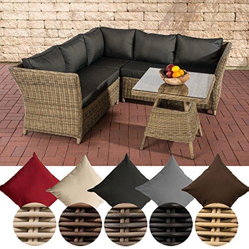 CLP Garten Lounge-Gruppe SANTA LUCIA, 5 mm RUND-Geflecht, 2x Sofa, 1x Ecksofa + Tisch 70 x 70 cm Rattan Farbe: braun-meliert, Bezug: Terrabraun