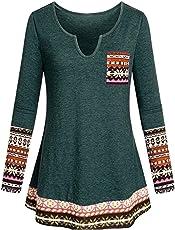 OverDose Damen Herbst Winter Daily Style Damen V-Ausschnitt Langarm Boho Patchwork Elegantes Tunika-Shirt mit Taschenbluse Langarmshirts Pullover Outwear