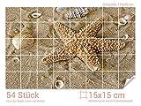 Graz Design 761061_15x15_90 Fliesenaufkleber Muscheln/Seestern für Kacheln | Bad-Fliesen mit Fliesenbildern überkleben (Fliesenmaß: 15x15cm (BxH)//Bild: 135x90cm (BxH))