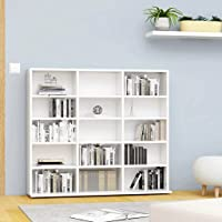 vidaXL Armoire à CD Bibliothèque Etagère de Rangement Etagère à DVD Livres avec 15 Compartiments Bureau Blanc 102x23x89…
