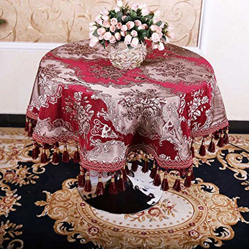 QPG Style Européen de Haute Qualité Pastorale Ronde Nappe De Mode Impression Maison Pastorale Nappes Table Basse Tissu (Couleur : Rouge, taille : D100 cm)