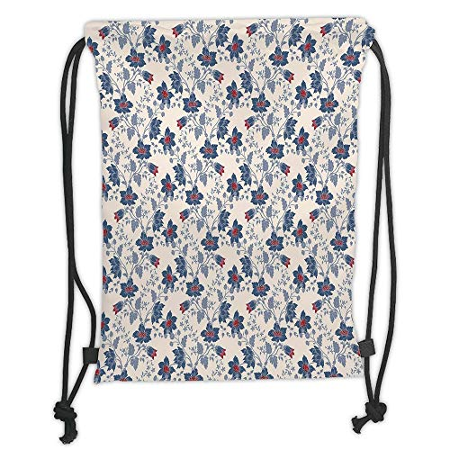 ck Backpacks Bags,Floral,Classic Flowers with Vivid Blooms and Victorian Vintage Effects Pattern Decorative,Cream Night Blue Ruby Soft Satin,5 Liter Capacity,Adjustable STR ()