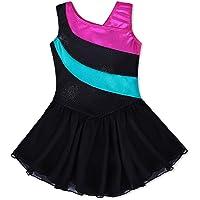 Kidsparadisy Girls Gymnastics Leotard Dance Skirt Sparkly Long Sleeve/Sleeveless Rainbow Strips Dance Dress Ballet…