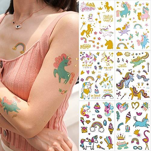 6 Teile/Paket temporäre Tattoo Aufkleber Gold Einhorn Tattoo Pferd Regenbogen Glitter Tattoo Kinder Kinder Set Tatoo für mädchen Aufkleber -