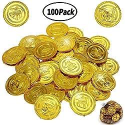 100 monedas de juguete para su tesoro pirata.