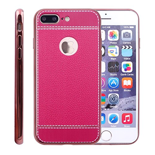 iProtect Schutzhülle aus TPU für Apple iPhone 7 Plus, iPhone 8 Plus im Business Design in Dunkelbraun Pink