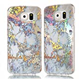 XINYIYI Coque Silicone Marbre Design pour Galaxy S6, Ultra Mince Glitter...