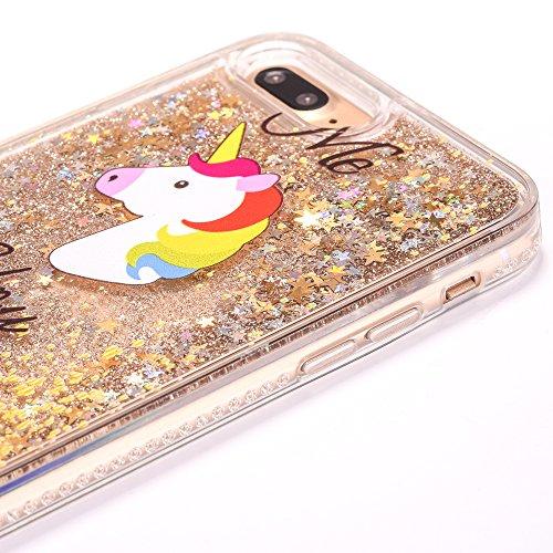 iPhone 7 Plus Coque avec Bling Diamant et Quicksand, Voguecase TPU avec Absorption de Choc, Etui Silicone Souple, Légère / Ajustement Parfait Coque Shell Housse Cover pour Apple iPhone 7 Plus 5.5 (Dia Licorne et cheval/Or