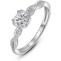 Qings Anello da Donna Solitario Fidanzamento in Argento Sterling 925 con Zirconi in Taglio Rotondo in Stile Infinity