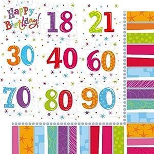 Shatchi AMSCAN-70th-NAPKINS - Servilletas de papel de 70 cumpleaños para decoración, 3 capas, 16 comidas