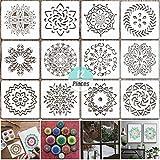 YuChiSX 12 Piezas Plantillas diseño de Mandala,plantilla de pintura cortada con láser para decoración de bricolaje, pintura sobre madera, rocas y arte de paredes (14 x 14 cm / 5.5x5.5 pulgadas)