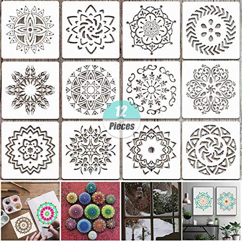 Yuchisx 12 pezzi mandala punteggia stencil modello,stencil di pittura, mandala stencil riutilizzabili per decorazione fai da te, pittura su legno, aerografo, rocce e pareti art