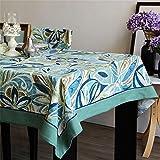 Dafa Tischdecken Erfrischende Polyester Baumwolle Tischdecke Rechteckige Studie/Abendessen/Kaffee Schreibtisch Blau Grün Idyllische Pflanze Blumen Antependium Anpassbare