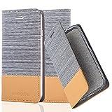 Cadorabo Hülle für Apple iPhone 7 / iPhone 7S / iPhone 8 - Hülle in HELL GRAU BRAUN – Handyhülle mit Standfunktion und Kartenfach im Stoff Design - Case Cover Schutzhülle Etui Tasche Book