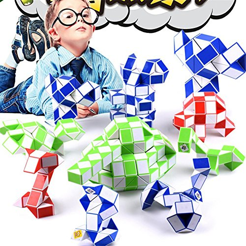 (zqasales Creative Magic Cube Schlange Lineal Magic Snake Twist Puzzle Magic Cube Funny zappeln Cube Hand Spin Anti-Stress-Spielzeug für Kinder Erwachsene)