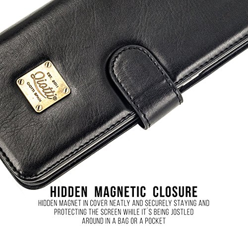 APPLE iPHONE X / iPHONE 10 Étui Portefeuille, QIOTTI Folio Wallet Case avec[ RFID Blocking Protection ] [ Fonction Présentoir ] [ 3 Card Slots ] [ Magnetic Hidden Closure ] [ Faux cuir éco de qualité  NOIR
