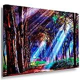 Zauberhafte Wald Leinwandbild LaraArt Bilder Mehrfarbig Wandbild 120 x 80 cm