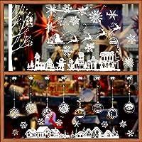 2 pcs Pegatinas Navidad Vinilos Stickers Navideños Copos Nieve Ventana Escaparates Cristales Calcomanías Navidad Decoración de Navidad PVC sin adhesivo