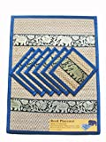 Set of 6 Elephant pattern Handmade Dinner Reed Placemats and Coast er, colore: foglia di tè (25,4 x 35,6 cm) Colore: Nero