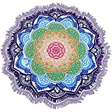 Sunroyal Toalla de Playa Beach Towel ,Yoga ,Viaje de Playa Tapiz Mandala Mantel de Picnic Esterilla de Yoga Estilo Bohemio con Borlas Grande Redonda Tapestry, Hippie Hippy Style, Throw Bedding Bedspread, Wall Hanging, Indian Boho Cotton Tablecloth Beach Towel, Decorative Wall Hanging, Round Meditation Yoga Mat - Mandala - Púrpura