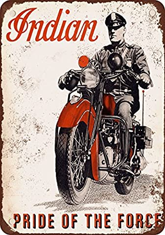 1940 Indian Motorcycles for Police Vintage Look Reproduction Metal Tin Sign 8X12 Inches
