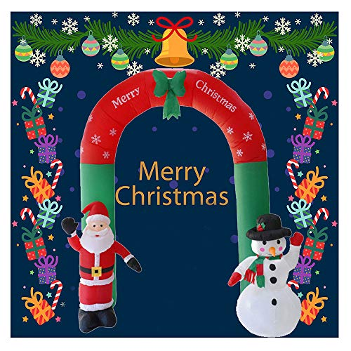 LCLrute Inflatable Snowman with Projection Lighting Indoor Outdoor Christmas Holiday Decorations Christmas Inflatable Santa Snowman Archway Bow LED Yard Art Decoration (A)