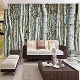 Benutzerdefinierte Tapete Nahtlose Wandbild Weiße Birke Wald Wandmalerei Dekor Schlafzimmer Wohnzimmer Hintergrund Tapete Wandverkleidung 3D 140X100cm