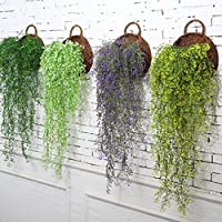 Yesiidor 1Pc Fake Greenery Plant Wall Hanging Decor Artificial Osier Rattans Plastic Bracketplant Plant Wall Decor Without Rack