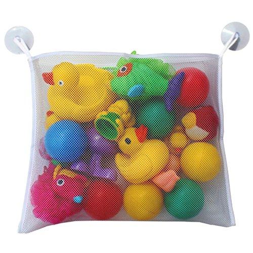 Autone Baby Bad Toy Organizer, Spielzeug ordentliche Aufbewahrung Saugnapf Tasche Badezimmer Net, weiß, S