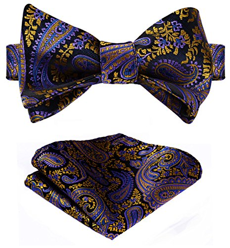 Orange Silk Bow Tie (HISDERN Men's Paisley Jacquard Self Bow Tie Set One Size Purple / Orange)