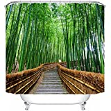 Beddingleer Cortina de Ducha 3D Arboleda de Bambú Impresión Impermeable y Resistente al Moho Secado Rápido Cortina de Ducha de baño con ganchos, naturaleza serie 180 x 180 cm
