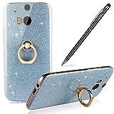 HTC M8 Hülle,M8 Silikon Hülle,WIWJ Hülle Kristall Bling Glänzend Glitzer Durchsichtig Klar TPU Silikon Hülle mit Metall Ring Stand Ständer Schutzhülle für HTC M8-Blau