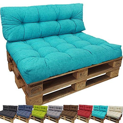 PROHEIM Cojines para palets Tino Lounge - Cree un Elegante sofá Acolchado en Palet - Repelentes al Agua Ideal para Exteriores - (NO ES UN Set!!), Color:Turquesa, Variante:Cojín de Asiento