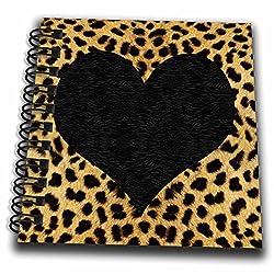 3dRose db_20394_3 Punk Rockabilly Cheetah Animal Print Black Heart Mini Notepad, 4 by 4