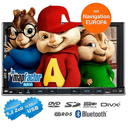 2DIN Autoradio CREATONE CTN-9268D56 mit GPS Navigation, Bluetooth, Touchscreen, DVD-Player und USB/SD-Funktion