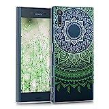 kwmobile Hülle für Sony Xperia XZ / XZs - TPU Silikon Backcover Case Handy Schutzhülle - Cover klar Indische Sonne Design Grün Weiß Transparent