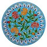 #9: Om Craft Villa Blue Pottery Ceramic Decorative Wall Hanging Handmade Plate