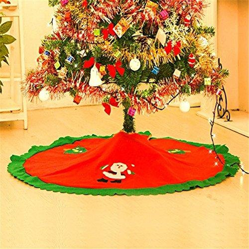 MFCreative 1PC 90cm Falda de árbol de Navidad rojo Navidad Papá Noel Falda de árbol Decoración de Navidad Suministros Ornamento